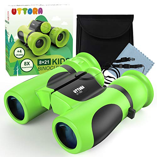 UTTORA Binoculars for Kids, Water-resistant, Binoculars for Bird Watching with Strong Magnification. 8 x 21 Lightweight Compact Binoculars Telescope Gift Toy for Boys and Girls, Shock-proof Toys for kids.