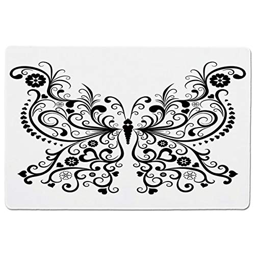SCOCICI Gaming Speed Version Medium Cloth Mouse Mat Madam Swirled Wings with Flower Spiritual Nature Image Mousepad for Home and Office Not Fad Locking Edge (Gold Madam Solid)