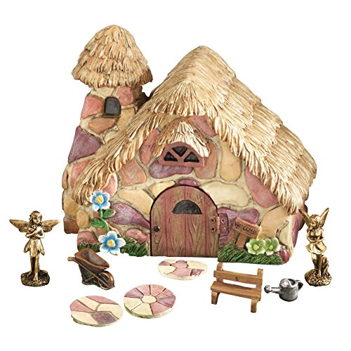 Miniature Fairy Cottage House 9 PC Set, Hand-Painted, for Garden, Flower Pot, Patio, Landscaping (Hand Painted Flower Pot)