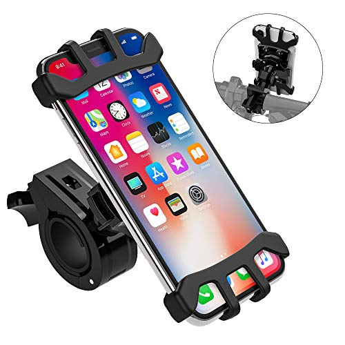 Bike Phone Mount for Motorcycle, Universal totobay Bike Holder Handlebars, 360 °Rotatable bikephone case Adjustable Shock Compatible with iPhone Xs, X, 8, 8 Plus, 7other 4-6.5 inch Smartphone, (Black)