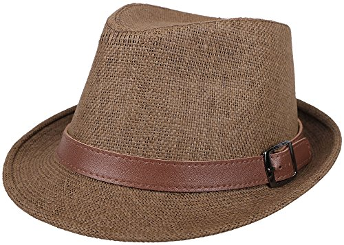Simplicity Panama Style Fedora Straw Sun Hat with Leather Belt, Dark Brown, SM