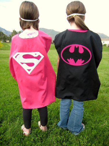[Reversible Supergirl Batgirl Superhero Pink Cape Costume with Mask] (Supergirl Costumes Pink)