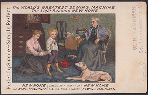 New Home Sewing Machines advertising postcard ca 1905