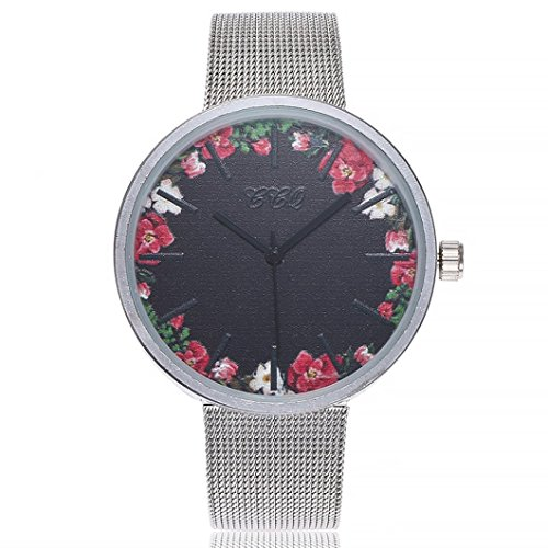 (Cuekondy_Watch Women Ladies Stainless Steel Band Analog Quartz Watches Cuekondy Casual Floral Big Dial Dress Wrist Watch (A))