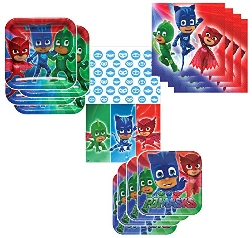 (PJ Mask Party Supplies Tableware Pack for 16 Guests - Includes 16 Dinner Plates, 16 Dessert Plates, 16 Dinner Napkins, and 1 Tablecover,)