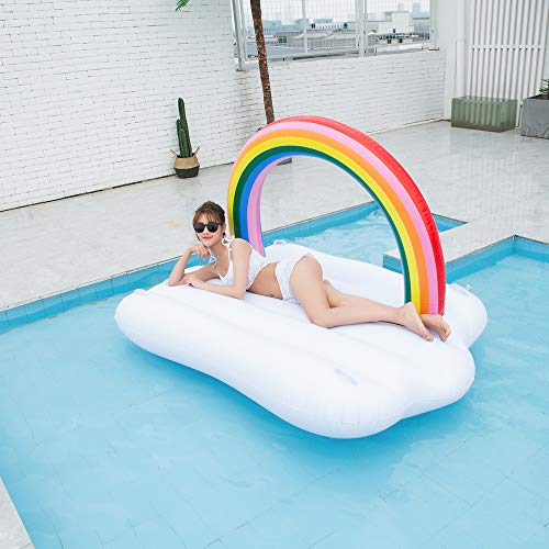 TechCode Inflatable Pool Float, Multi-Purpose Summer Inflatable Bad Portable Pool Float Mattress Sunbathe Comfort Lounge Bad Beach Mat Water Party Inflatable Float Holiday Toy,83x57x53 inch by TechCode (Image #9)