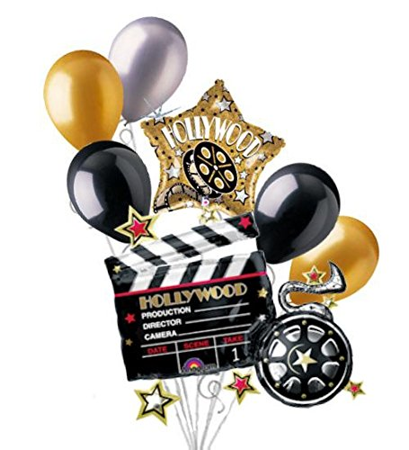 7 pc Hollywood Clapper Movie Balloon Bouquet Decoration Party Decor Birthday by Jeckaroonie Balloons