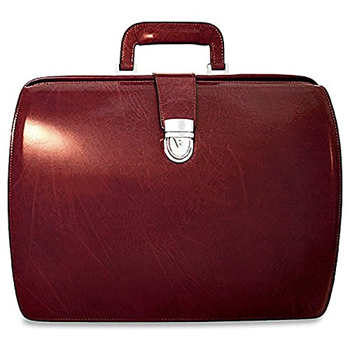 Jack Georges Mens [Personalized Initials Embossing] Elements Classic Leather Briefcase in Burgundy