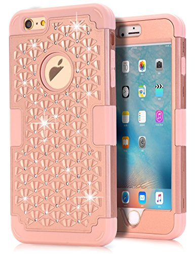 iPhone 6s Plus Bling case, iPhone 6 Plus Bling case, TOPSKY [Shock Absorption] Studded Rhinestone Bling High Impact Resistant Armor Defender Case For iPhone 6/6s Plus (Only For 5.5