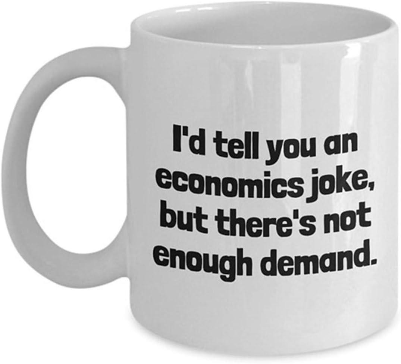 Dry Dad Broma Te contaré un chiste de economía pero no hay suficiente demanda Taza de café Regalo para amigo Amante Marido Esposa Jefe Colega en el día de la madre Día del padre Cumpleaños Navidad