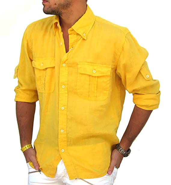 3761cbffc38ca Puro Lino - Camisa Casual - para Hombre  Amazon.es  Ropa y accesorios