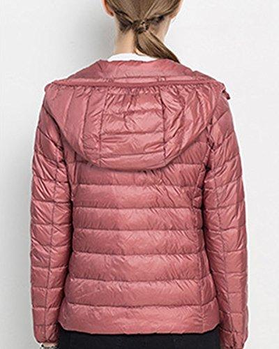 Femme Caoutchouc Doudoune A Chaude Capuche d'hiver Courte Blouson Pink2 Sport Veste zwEFg