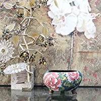 Hand Carved & Painted Ceramic Plant Pot with Drainage | Flower Vase Home Decor | Succulent Cactus Herb Planter
