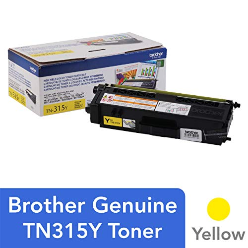 Brother Genuine High Yield Toner Cartridge, TN315Y, Replacement Yellow Toner, Page Yield Up To 3,500 Pages, TN315