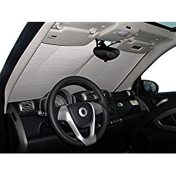 The Original Windshield Sun Shade, Custom-Fit for Smart Fortwo Coupe 2008, 2009, 2010, 2011, 2012, 2013, 2014, 2015, Silver Series