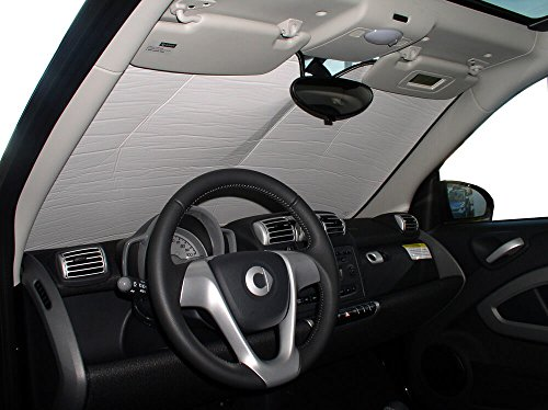 HeatShield The Original Auto Sunshade, Custom-Fit for Smart Fortwo Coupe 2008, 2009, 2010, 2011, 2012, 2013, 2014, 2015, Silver Series