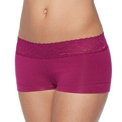 Maidenform Cotton Dream Lace Trim Boyshort Panty Pink 8