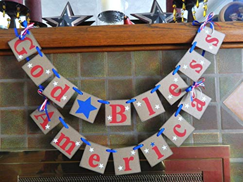 (God Bless America Sign, Fourth of July Decorations, Americana Decor, Patriotic Decor, God Bless America banner, July 4th Decor Photo Prop)