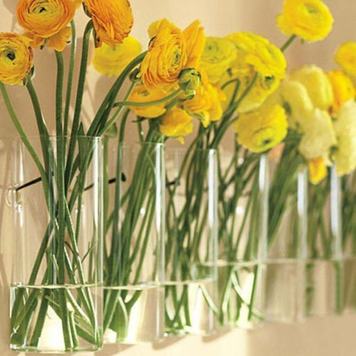 Siyaglass Pack of 4 Crystal Glass Wall Hanging Flower Vase Planter Terrarium Container Flower Pot (Decor Wall Crystal Flower)