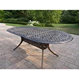 Oakland Living Mississippi Cast Aluminum Oval Dining Table, 82 by 42-Inch, Antique Bronze For Sale