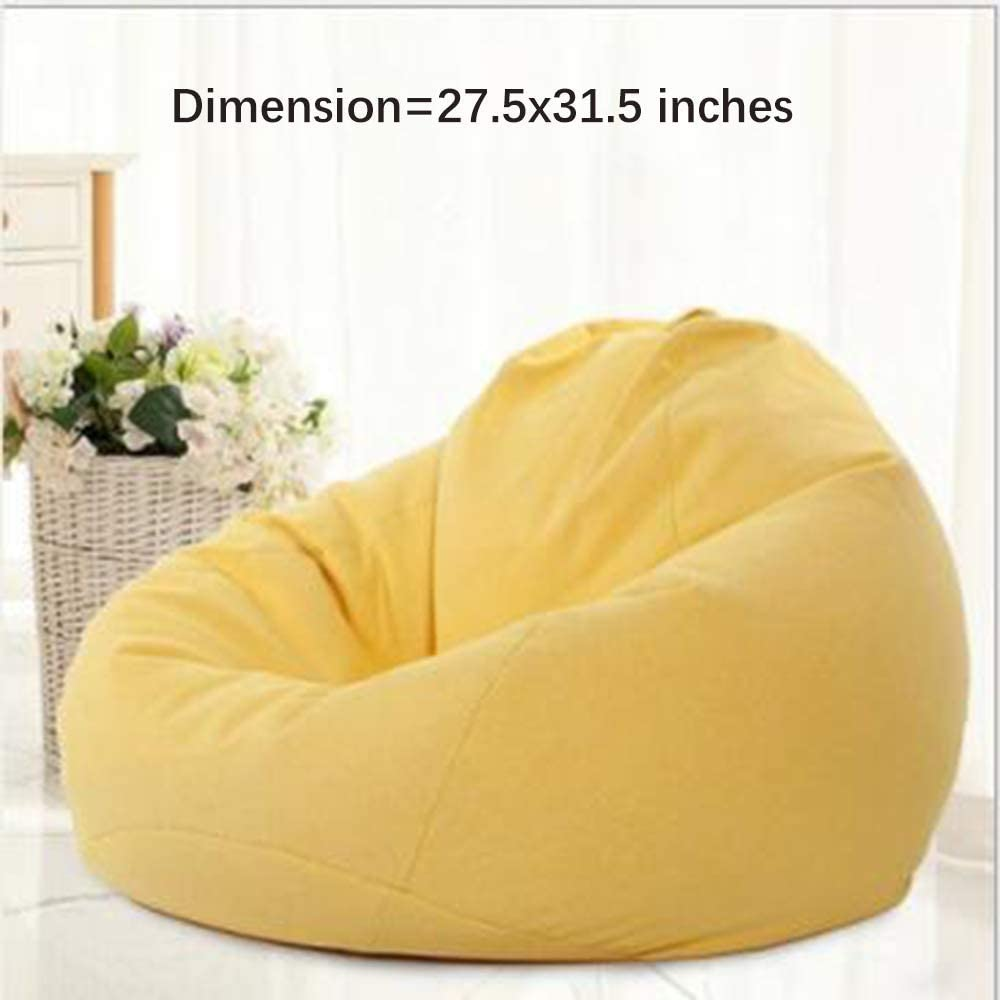 Washable Bean Bag Cover Only without Filling,Chair Cover for Adult Kids,Detachable Yellow Sofa Lounger Cover with Zipper,for Organizing Children Plush Toys Memory Foam Stuffed Animal 27.5x 31.5 inch