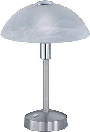 Nickel Wofi-Leuchten Glas weiß Tischleuchte mit Schalter