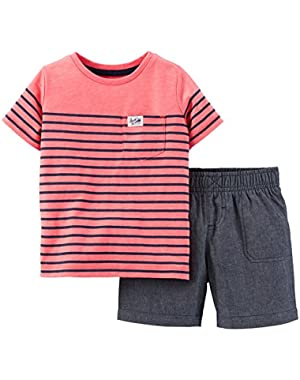 Carters Baby Boys Chambray Shorts Set 6 Month Pink/blue