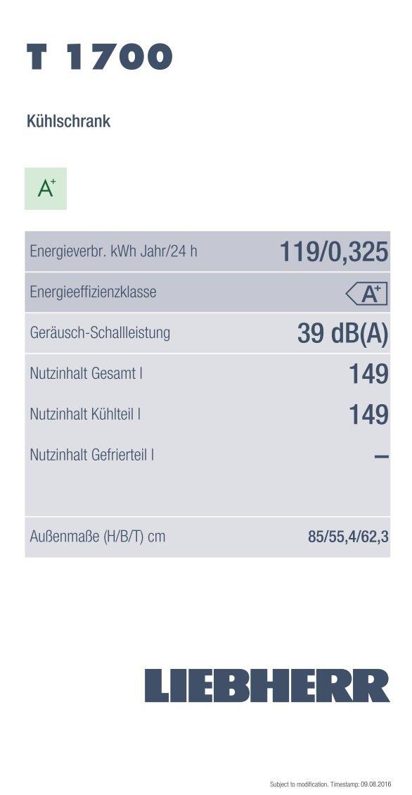 Liebherr T 1700 Tisch Kuhlschrank A A 125 Kwh Jahr 151 L Kuhlteil Vollraum Weiss