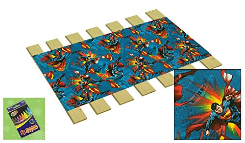 Custom Made in the U.S.A.! Youth/Toddler Size Superman Cotton Comic Book Hero Themed Bed Slats Bunky Boards - Cut to the Width of Your Choice (27'' Wide) - FREE box of Crayons with Purchase by The Furniture Cove