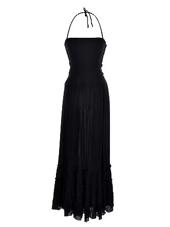 Anna Kaci Long Maxi Black Halter Top Dress At Amazon Womens