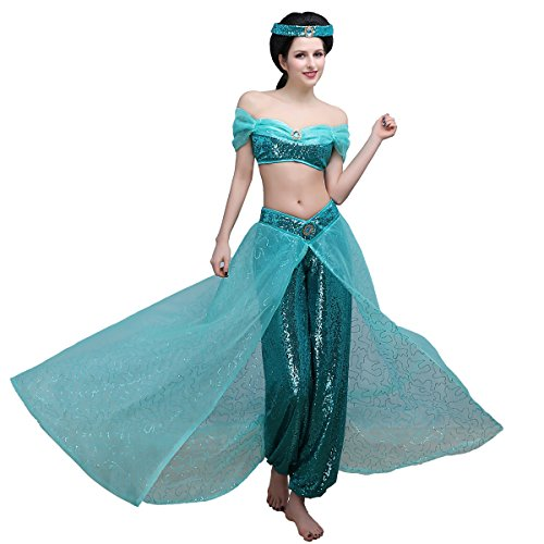Angelaicos Women's Hand Sewing Sequins Shinny Dancing Party Princess Costume Dress (M) Blue ()