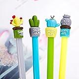 SUPPION 4PC Cartoon Cactus Gel Black Pens Kawaii Pens Cute Office Stationery Student Gift