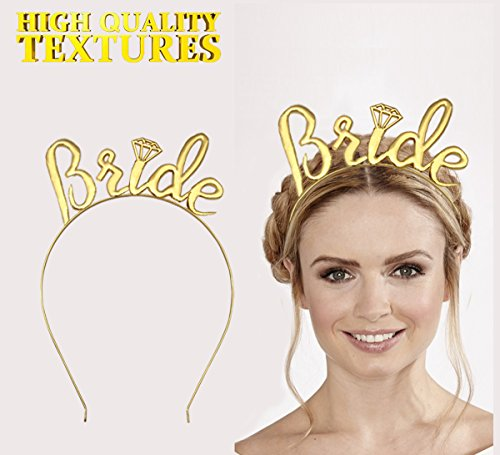 Bride Tiara Gold,Bride Headband Gold, Bride Crown and Tiara for Bride to Be Bachelorette Party Bridal Shower Decorations Supplies&Favors.