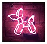 Gritcol Pink Balloon Dog Neon Signs for Wall Decor Night Light Man Cave Beer Bar Restaurant Love Gifts 11''x11''