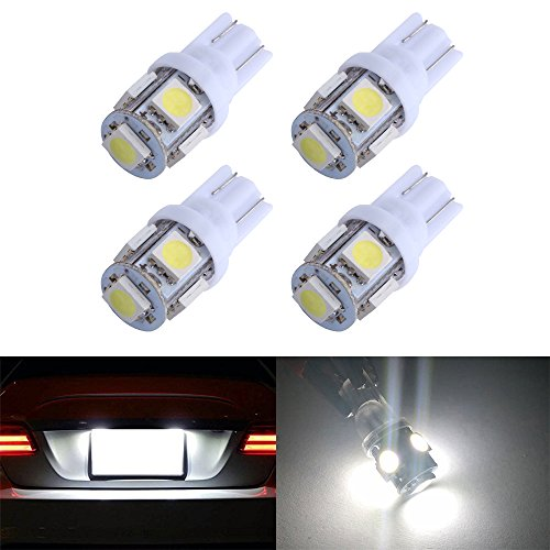 White T10 Bulb ( 194 T10 W5W 5SMD 5050 Antline 12v LED Light Bulb White 2825 158 192 168 for Car/Motor Interior Dome Parking Side Turn Signal Dashboard License Number Plate Light Bulbs Lamp (pack of 4) )