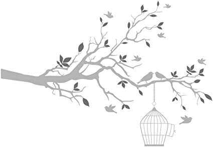 Wall Stickers Self-Adhesive Bird Tree Vinyl White  Home Decor Office Living Room