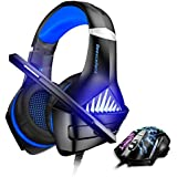 BENGOO Gaming Headset and Mouse, Stereo Gaming Headset for Xbox One, PS4, PC, Noise Cancelling Over Ear Headphones with Mic, LED Light, 3200 DPI Adjustable, 6 Buttons Wired Ergonomic Gaming Mouse