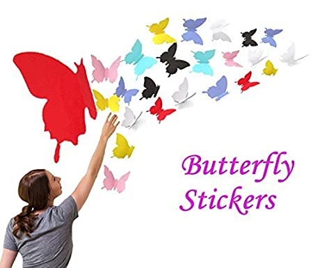 LOLOAJOY 36PCS//Set 3D Home Decoration Removable Butterfly Wall Stickers Yellow