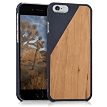 kwmobile Protective case for Apple iPhone 6 / 6S with cork cover and pockets – hardcase in dark blue brown