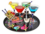 10 oz Martini Glasses with Shaker Gift Set 16 Piece Handcrafted Blue Infused Crystal Clear Glasses Olive Dish Glass Stir Sticks Cocktail Drink Shaker Strainer with Commercial Grade Tray
