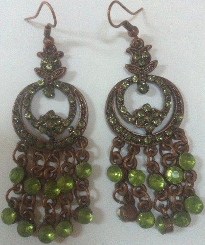 [Vintage Style Princess Jasmine Earrings Green Bronze 3