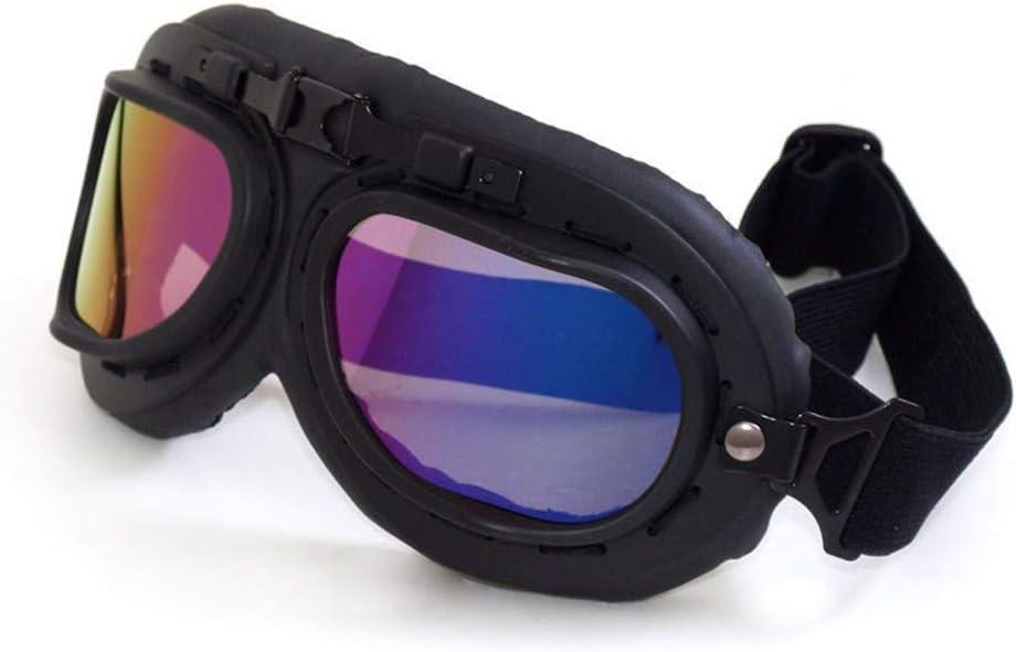 Wonzone Motorcycle Goggles with Antifog and Anticrash Lenses, Vintage Motocross Classic Retro Glasses Aviator Pilot Cruiser Steampunk ATV Bike UV Protection
