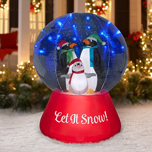 Airblown Inflatable Snow Globe w/Glimmer LED Penguin Family Scene 5ft tall by Gemmy Industries by Airblown Inflatable