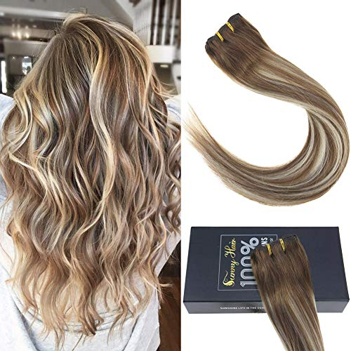 Sunny 20inch Balayage Remy Human Hair Blonde Clip in Hair Extensions Medium Brown Fading to Platinum Blonde Highlights Clip in Double Weft Extensions 7pcs 120grams/pack
