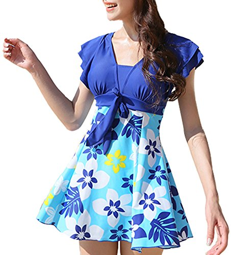 Summerwhisper Women's Floral Print Hot Spring One Piece Swimsuit Swimwear Blue XX-Large