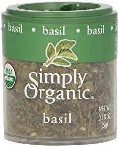 Simply Organic Basil Leaf, Sweet Cut & Sifted Certified Organic, 0.18-Ounce Containers (Pack of 6)