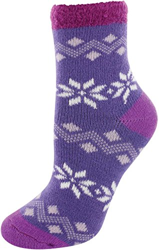 (YakTrax Youth Cozy Cabin Crew Socks (Purple,OneSize))