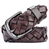 Men's hand-woven belt pin buckle wide leather belt-A One Size