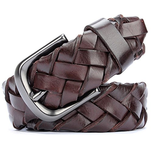 Men's hand-woven belt pin buckle wide leather belt-A One Size by HANAHAN