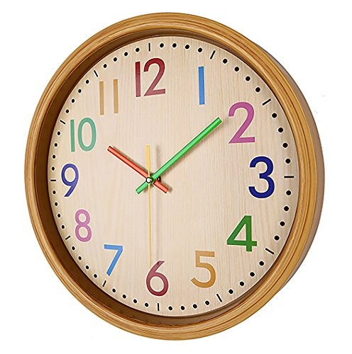 AIOLOC Kids Eco-friendlly Imitate Wood Wall Clock 12.5 Inch Silent Colorful Decorative Battery Operated Clocks Easy To Read for Children's Room by Ticktar (Image #3)